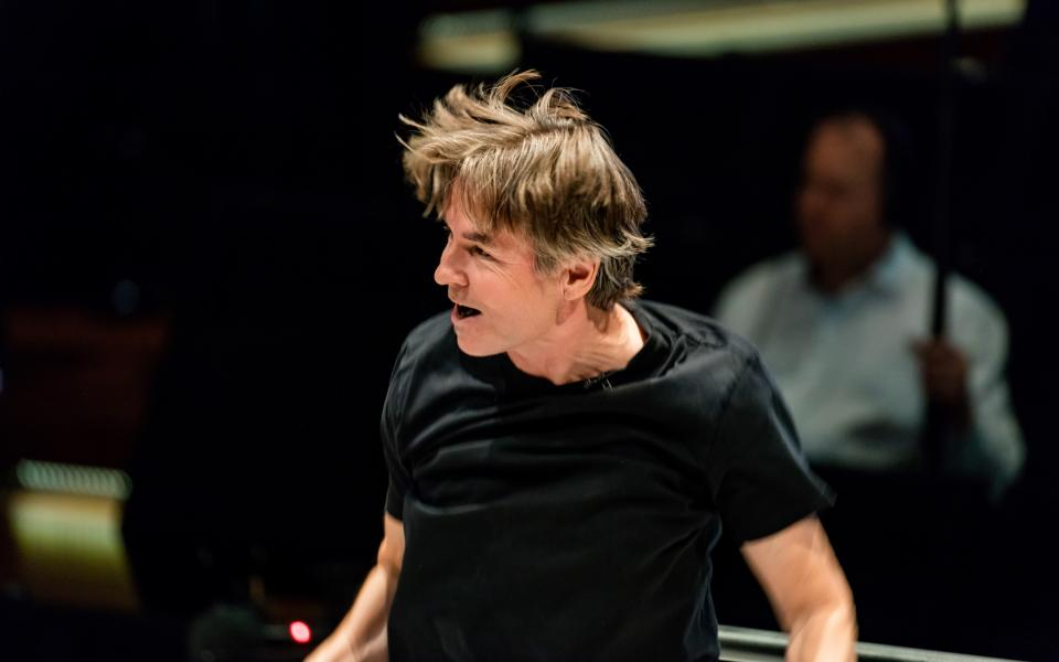 Conductor Esa-Pekka Salonen on stage during rehearsal