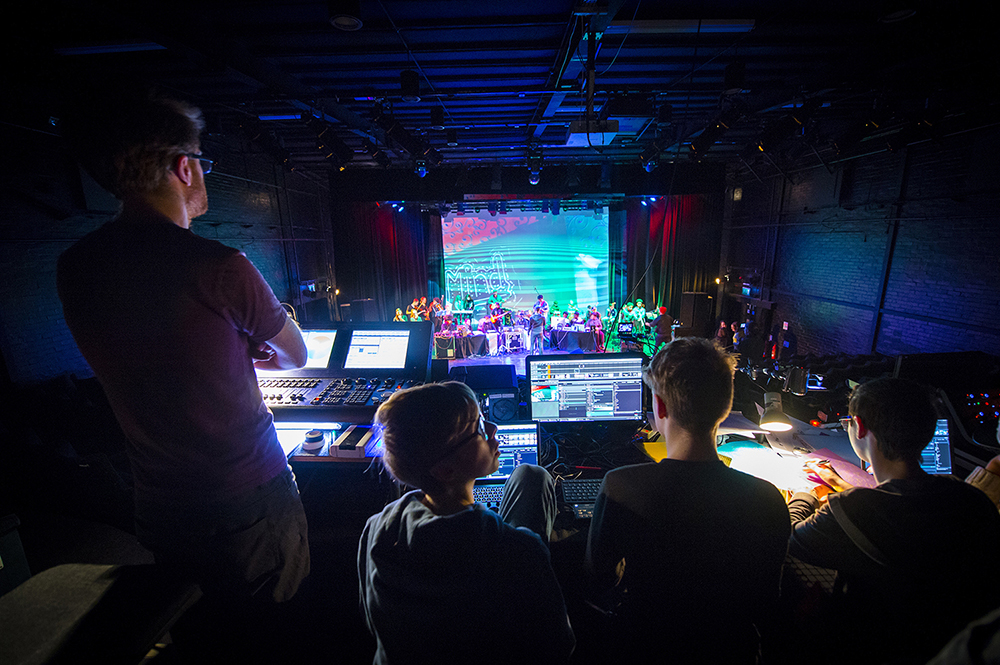 Control room at Symphonize culmination event, Leicester, 2018