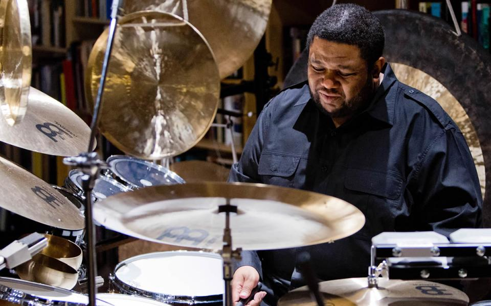 Photo of composer and drummer Tyshawn Sorey