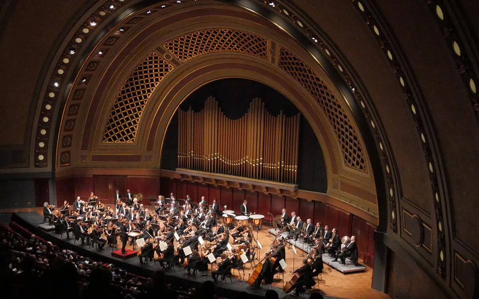 Philharmonia on stage in Ann Arbour, Michigan